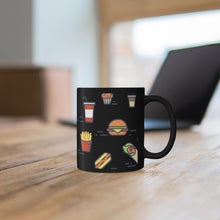 Load image into Gallery viewer, Chicken Waffles French Fries Burger Drink Black Mug 11oz