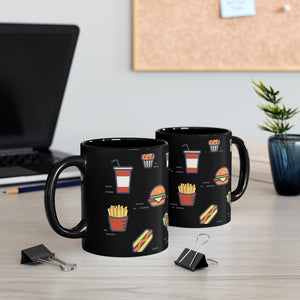 Chicken Waffles French Fries Burger Drink Black Mug 11oz