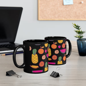 Black Watermelon Pineapple Orange Mug 11oz