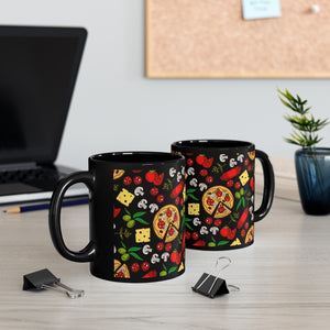 Black Pizza Mug 11oz