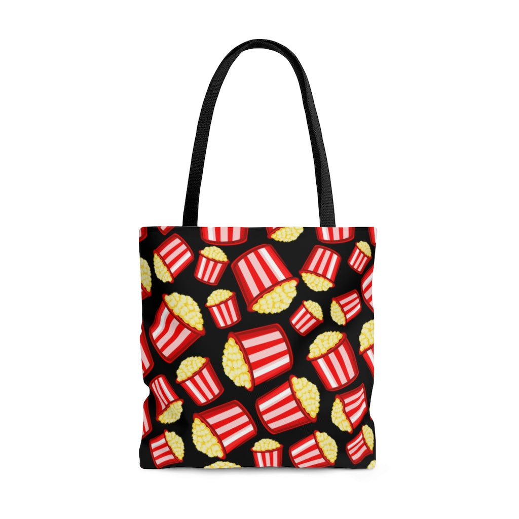 Eat More Popcorn AOP Tote Bag