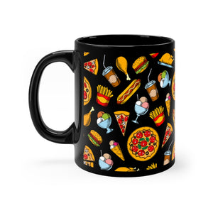 Black Yummy Food Mug 11oz
