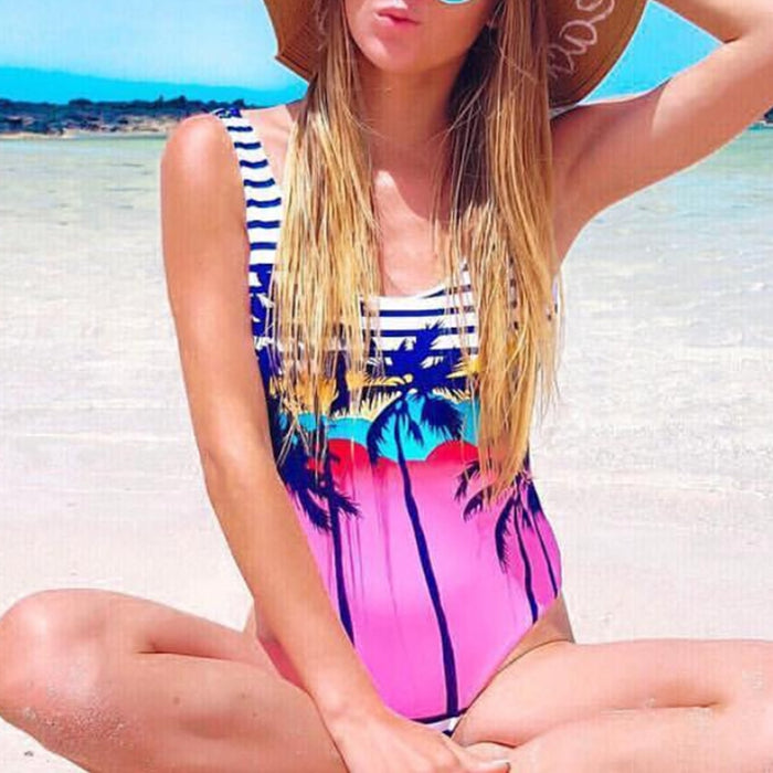 Printed Backless Summer One-piece Swimsuit