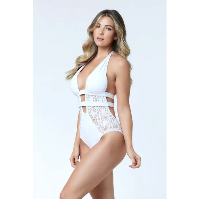 WHITE ONE PIECE SWIMSUIT - JURERE