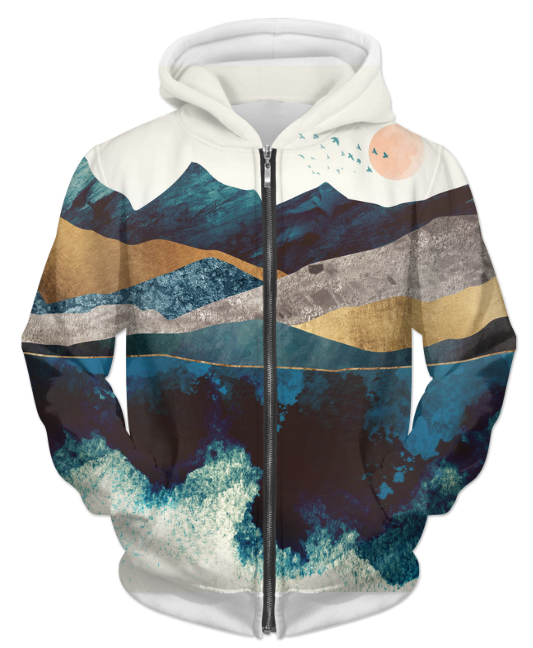 Blue Mountain Reflection 1 UNISEX ZIP HOODIE