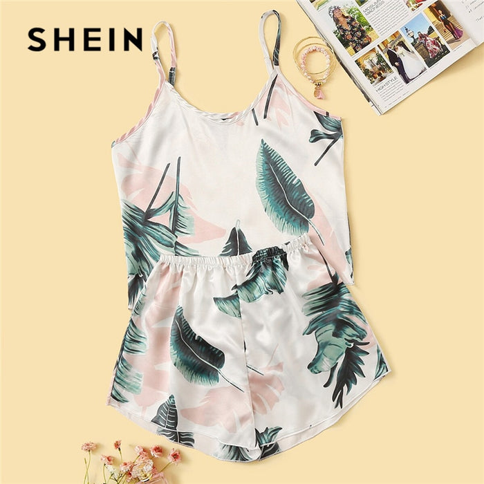 SHEIN Tropical Print Satin Pajama Set Women Summer Casual Sleeveless Spaghetti Strap Sleepwear Cute Fresh Girls Nightwear