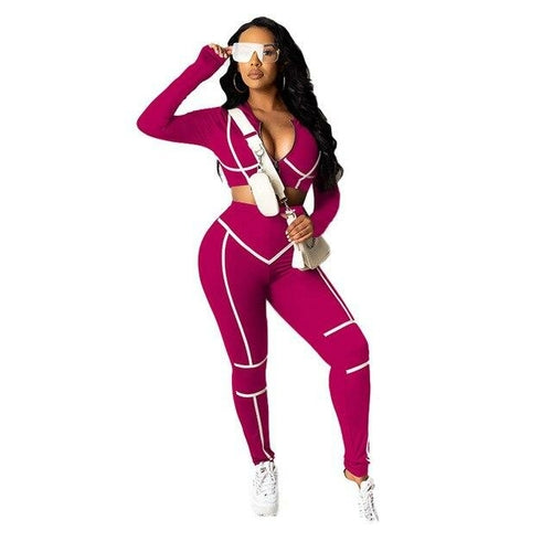 Autumn Striped Two Piece Set Tracksuit For Women Long Sleeve Crop Top