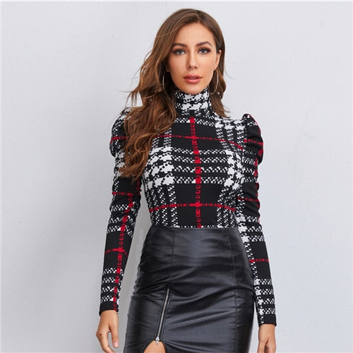 SHEIN High Neck Gigot Sleeve Plaid Top Women Spring Long Sleeve Slim Fit Tees Multicolor Elegant Office Lady T-shirts