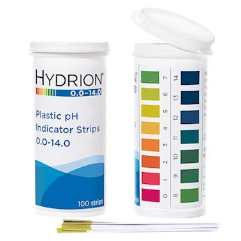 Hydrion pH Indicator Strips, 0.0 to 14.0, Flip-Top Vial Packaging, 100 Strips - Stratus Micro-Mister