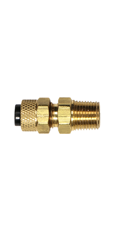 "1/4"" Tubing to 1/8"" Male Pipe Thread (NPT) Brass Connector - Stratus Micro-Mister"