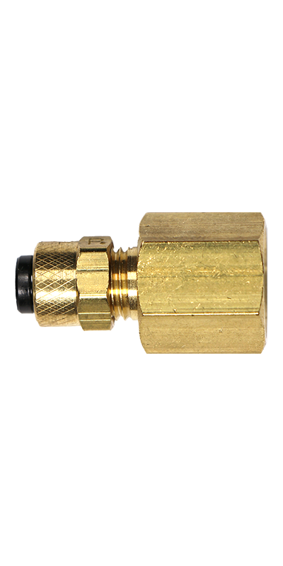 "1/4"" Tubing to 1/4"" Female Pipe Thread (NPT) Brass Connector - Stratus Micro-Mister"