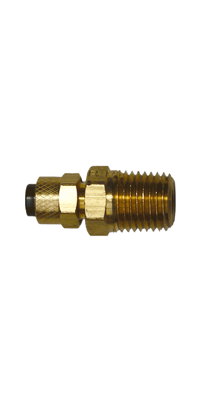 "1/4"" Tubing to 1/4"" Male Pipe Thread (NPT) Brass Connector - Stratus Micro-Mister"