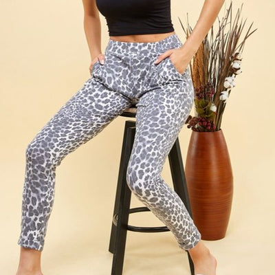 grey leopard jogger sweatpants