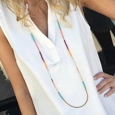 long multi color bead necklace