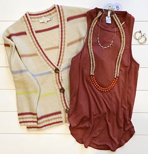 Stripe Button Cardigan