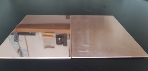 Mirror polished plate (left) and mill-finished plate (right).