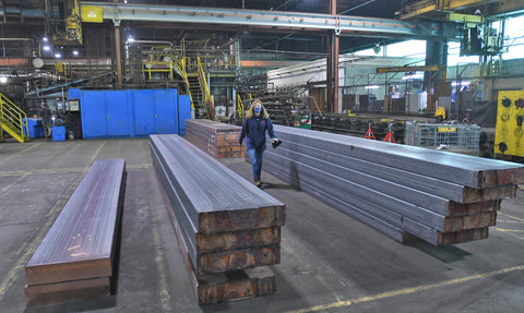 Copper slabs at Reveer Copper waiting to be rolled into sheets