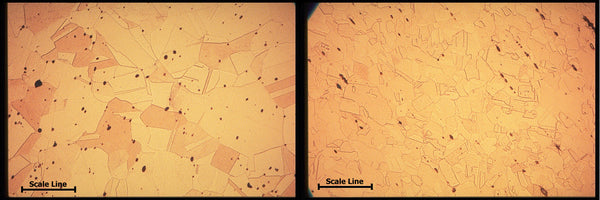Grain structure of ETP C110 hot rolled copper (left) and soft annealed copper (right); scale 50 microns