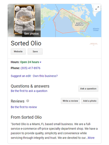 Sorted Olio Google Business Page