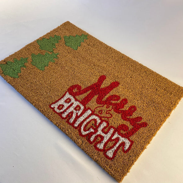 Local Artisan - Tachi - Hand Painted Bright And Merry Door Mat