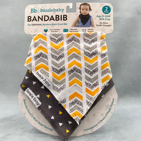 Bazzlebaby Bandabib Cloth Bibs - 2 pack - 0-24 months - bpa free - machine washable