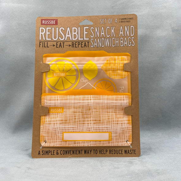 Russbe Reusable Snack And Sandwich Bags Set Of 4 - Lemons