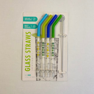 EcoOne Glass Straws - Green And Blue Set