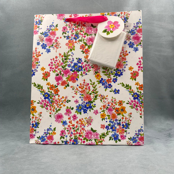 Floral Gift Bag With Tissue Paper