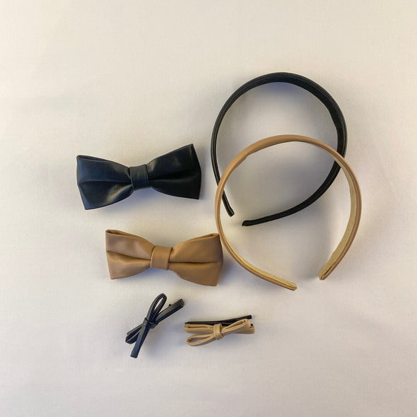 Faux Leather Hair Accessory Set