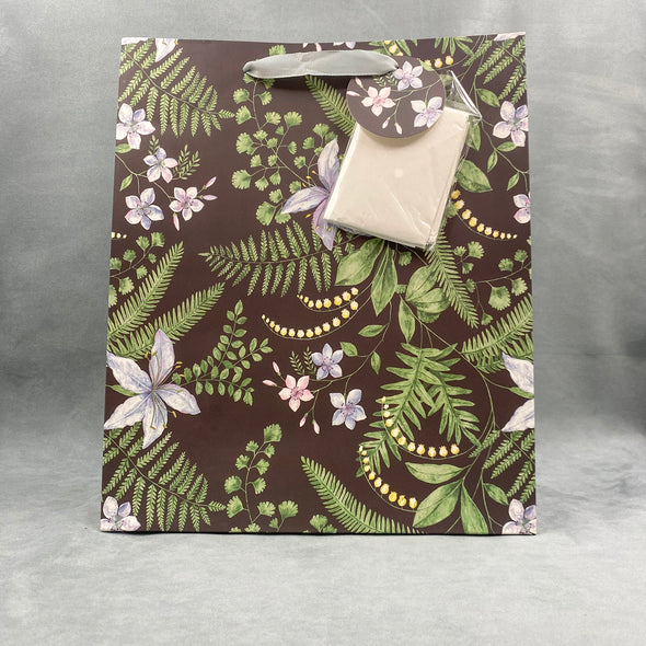 Grey Floral Gift Bag With Tissue Paper
