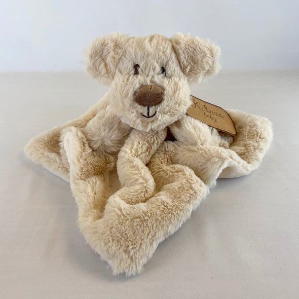 Cream Dog Baby Blanket With Rattle