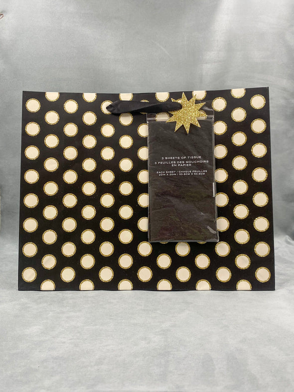 Gold And Black Poka Dots Gift Bag With Tissue Paper