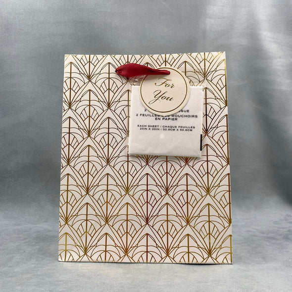 gift bag with tissue paper - Maroon - Deco - Gold Foil - Tissue Paper - Gift