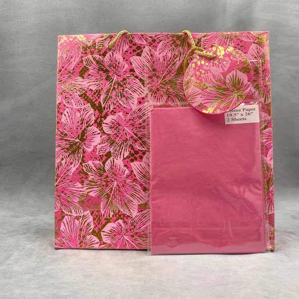 Handmade Pink Gold Floral Gift Bag With Tissue Paper