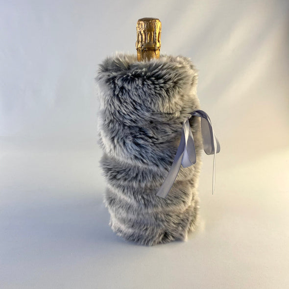 White & Grey Faux Fur Wine Bag