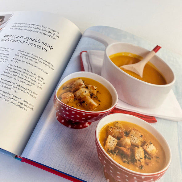 Christmas Cooking With Kids Cookbook - Butternut Squash Soup with Cheesy Croutons