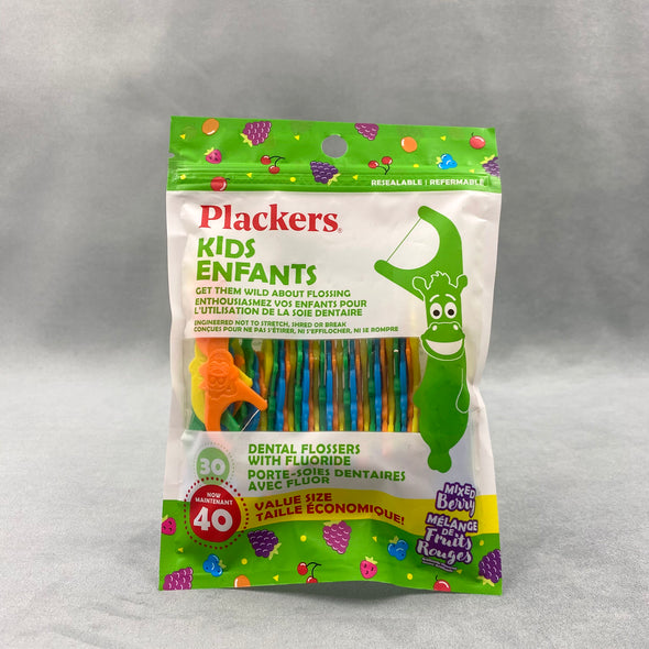 Plackers Kids Dental Flossers - Kids Enfants - 40 qty - Mixed Berry