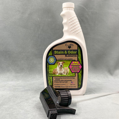 Our Pets Stain & Odor Eliminator - carpet and floors - pro strength - removes urine, vomit, feces and more - made in USA - home, kids and pet friendly