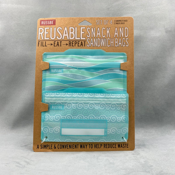Russbe Reusable Snack And Sandwich Bags Set Of 4 - Blue Waves