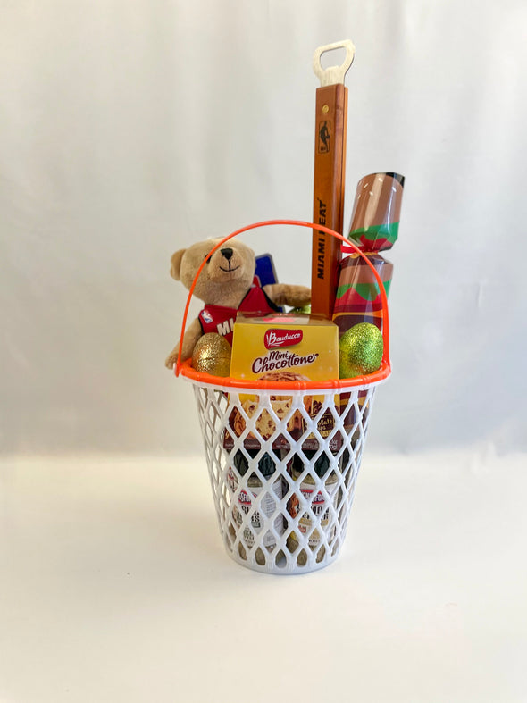 "Basketball Bunny Basket includes:   Basketball net themed basket that can be reused   Miami Heat Sportula  Miami Heat mini teddy bear 9"" Bear with Miami Heat Jersey  Kingsford Garlic & Herbs seasoning  Kingsford Lemon Pepper seasoning  Kingsford Cajun style seasoning  Mini Chocottone cake  Glitter eggs with Hersey's mini chocolate candy  Surprise Sock Cracker: Contains one pair of no show socks BBQ theme size 61/2-12"