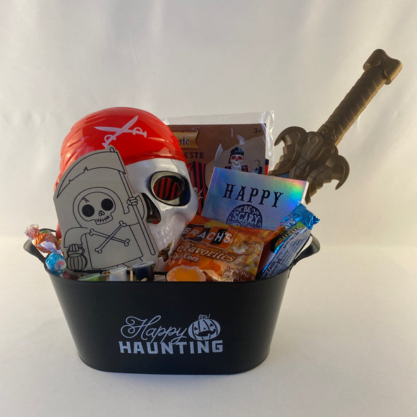 Pirate's Mask That Lights Up  Pirate's Vest   Pirate's Sword  Pirate Wooden Paint Set  Pumpkin Slime   Halloween Iridescent Notebook  Charm's Mini Blow Pops   Rice Krispies with Mini M&Ms   Branch's Pie Favorites Candy Corn (Apple Pie and Pumpkin Pie)