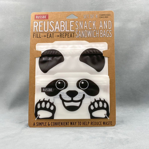 Russbe Reusable Snack And Sandwich Bags Set Of 4 - Panda
