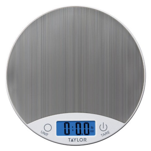 Taylor - Round Stainless Top 11lb/5kg Digital Kitchen Scale