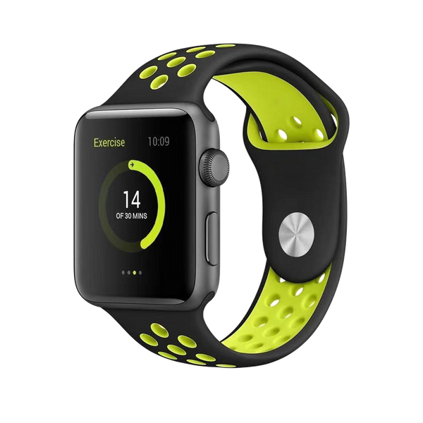 Premium Apple Watch 42/44mm Silicone Strap - Black/Yellow