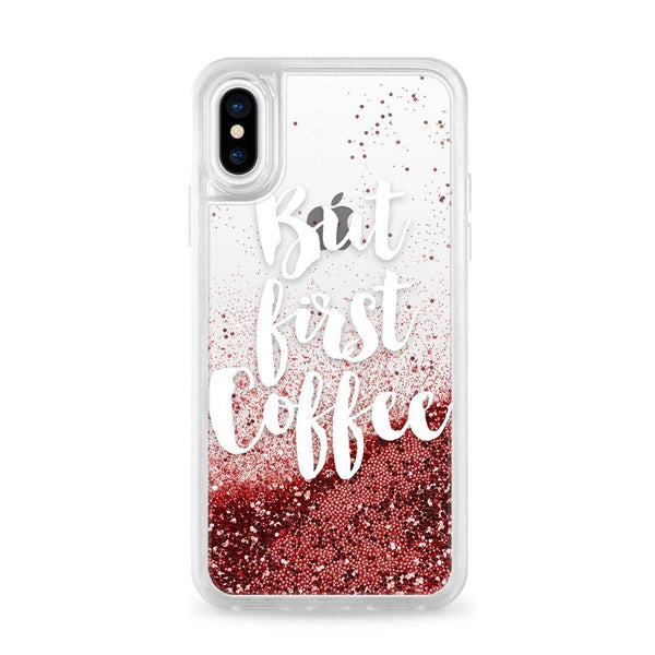 Casetify Glitter Case Rose Gold But First Coffee For iPhone XS/X