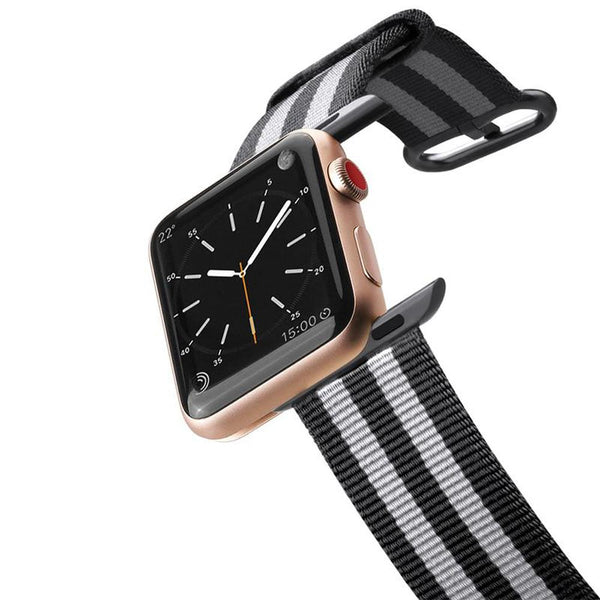 Apple Watch Band Nylon Fabric All Series 38mm Black Stripes