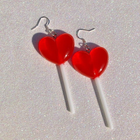 Red Heart Lollipop Earrings