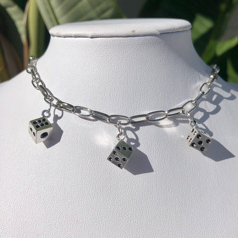 Silver Dice Choker Necklace