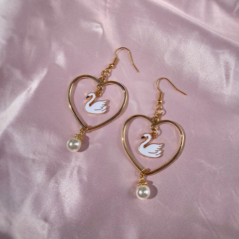 Swan Pearl Heart Earrings
