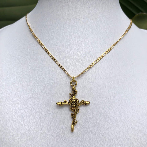 Maria Cross Necklace - Silver or Gold